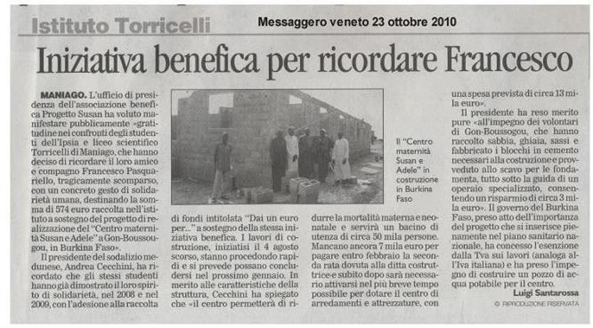 Messaggero Veneto 23/10/2010