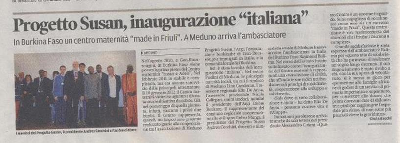 Progetto Susan, inaugurazione italiana