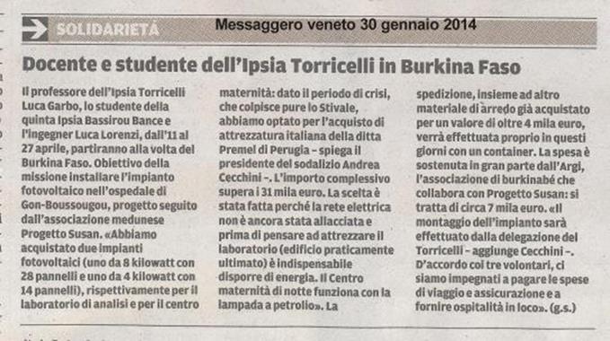 Messaggero Veneto 30 gennaio 2014