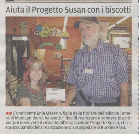 Enia Maserin aiuta il Progetto Susan con i biscotti