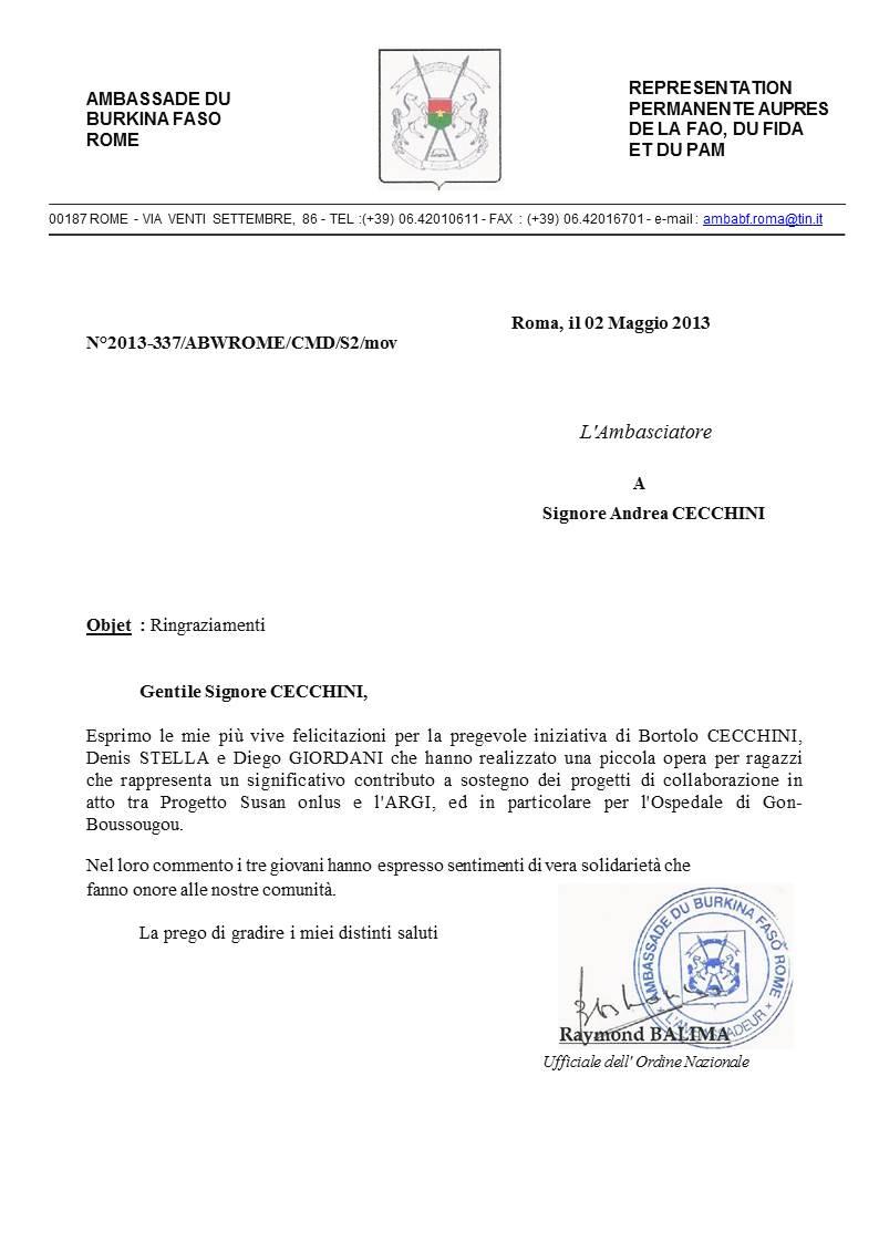 I complimenti dell'Ambasciatore del Burkina Faso in Italia S.E. Raymond Balima